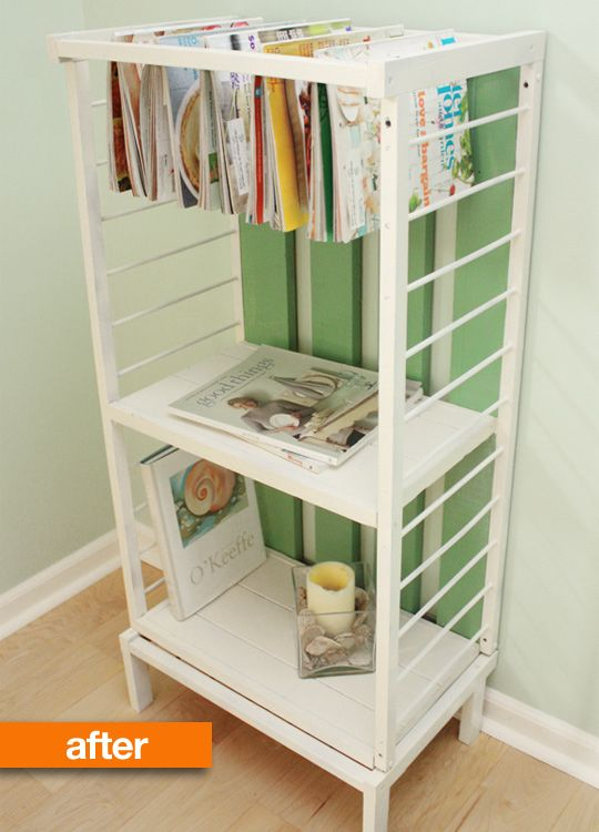 Before & After: Obsolete Crib Makes a Fantastically Functional Set of Shelves //// I like that it could be useful in the bathroom, to hang towels and store stuff. Nice.