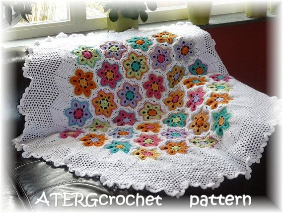 Crochet pattern hexagon flower plaid/afghan by by ATERGcrochet ~ I am a big fan of ATERGcrochet, thanks for all the beautiful patterns Greta