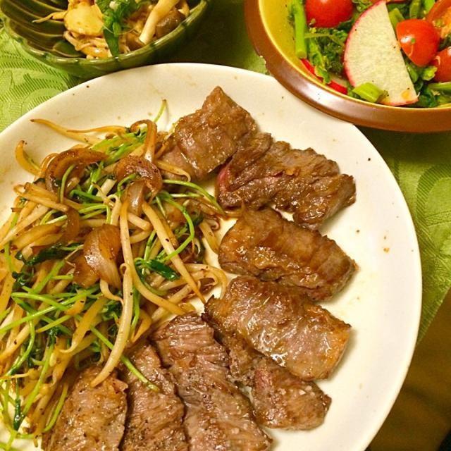 菜の花サラダ、キノコ3種ポン酢七味。 - 18件のもぐもぐ - ハラミ、タレと、塩レモン。 by hiromange