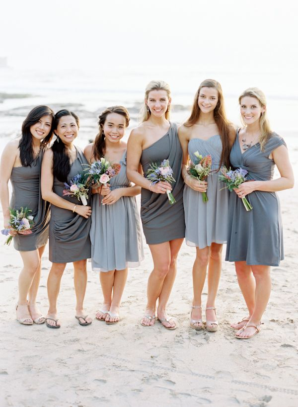 Grey Bridesmaids Dresses For Beach Wedding Beach Town Wedding/