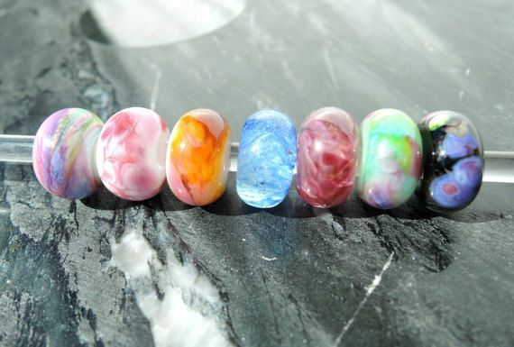 Lampwork glass beads...big hole to fit by BdazzledJewellery