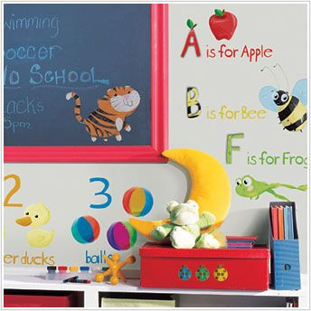 Education Station Wall Decals for Preschool and Kindergarten Classroom - Letters, Numbers, Animals and Food