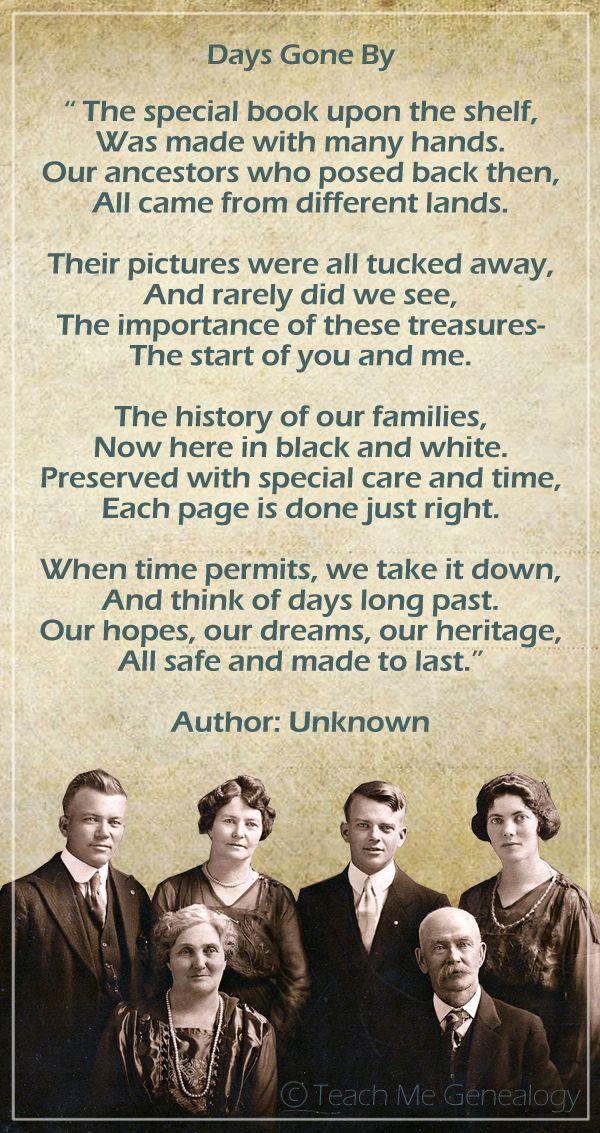 Beautiful Genealogy Family History Poem