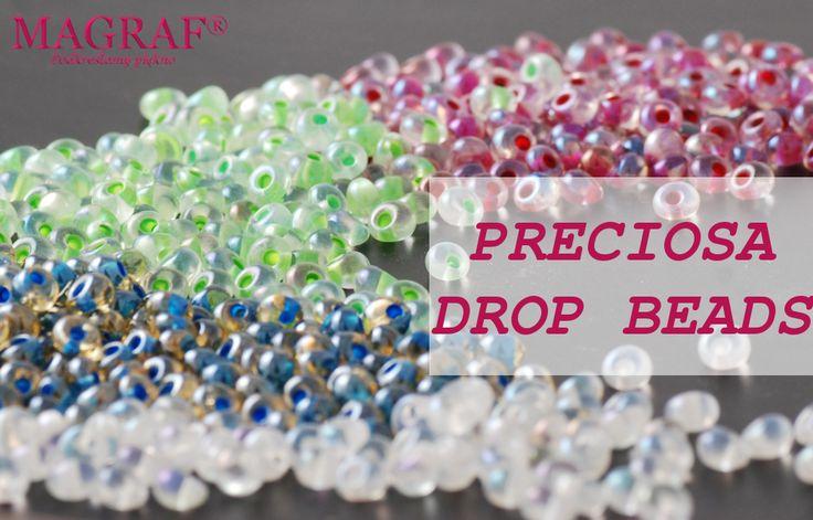Czeskie szklane koraliki łezki PRECIOSA Drops. PRECIOSA Drop Beads - japońskim odpowiednikiem tych koralików jest Toho Magatama. Koraliki te mają otwór umieszczony z boku, co sprawia, że przypominają swoim kształtem kropelkę.