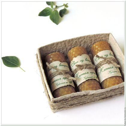 Подарочный набор свечей из вощины Мятная прохлада - восковые ароматические свечи