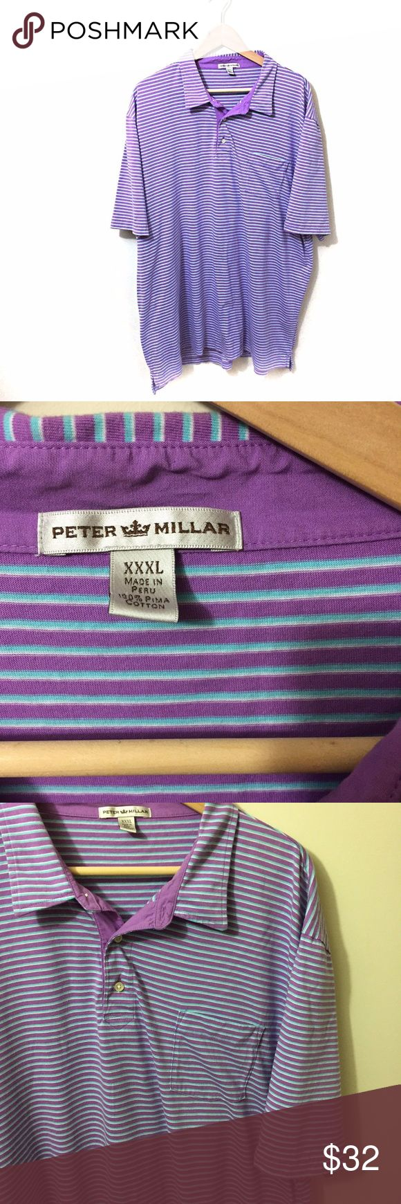 """Peter Millar Summer Comfort Short Sleeve Polo XXL Peter Millar striped polo shirt, size XXXL.  Gently worn, no flaws are noted.  Chest flat across:  27"""" Length:  33"""" Peter Millar Shirts Polos"""