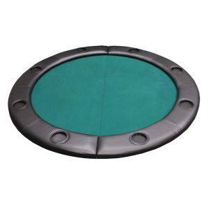 discountpokershop.com Padded Round Folding Poker Table Top w/ Cup Holders - Green