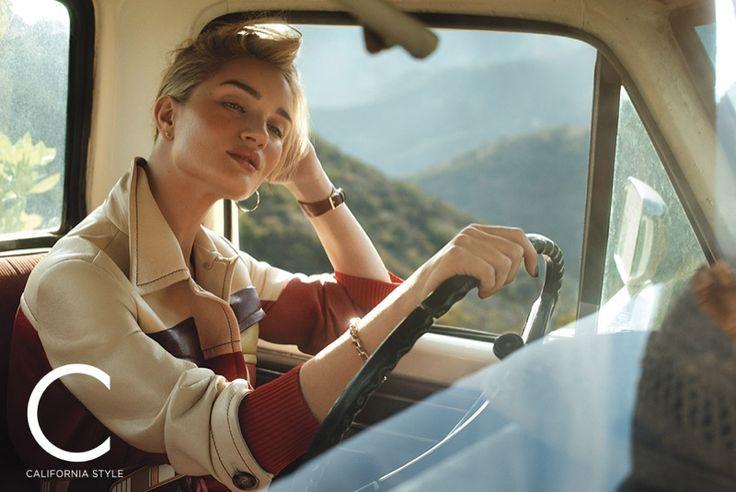 Rosie Huntington-Whiteley models Prada jacket and belt