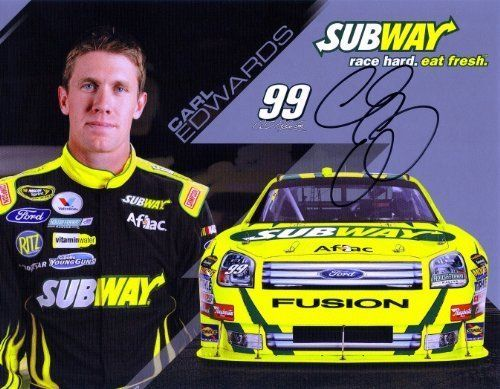 2009 Carl Edwards #99 Subway Driver Card SIGNED by Trackside Autographs. $29.95. This is an AUTOGRAPHED 2009 Carl Edwards #99 Subway Racing / Roush Racing driver card. This hero card was SIGNED by Carl Edwards through a well-respected member of Global Authentication.