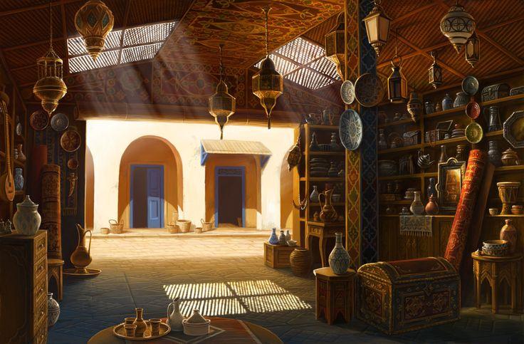 "ArtStation - ""Lost Horizon"" game backgrounds- part 2 (Marrakesh), Olga Antonenko"