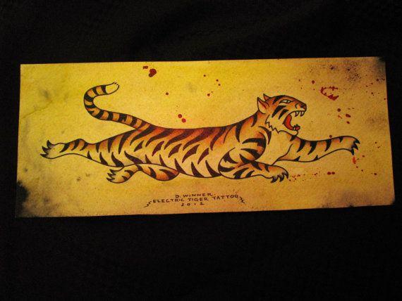 Original tiger vintage style tattoo flash watercolor painting. $40.00, via Etsy.