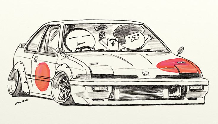 "car illustration ""crazy car art"" jdm japanese old school ""INTEGRA"" original cartoon ""mame mame rock"" / © ozizo"