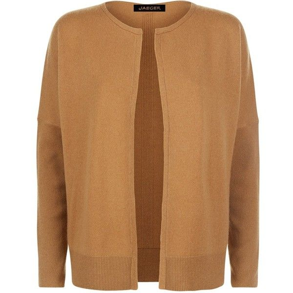 Jaeger Cashmere Double Trim Cardigan, Camel (£75) ❤ liked on Polyvore featuring tops, cardigans, camel top, brown tops, cashmere tops, short-sleeve cardigan and camel cardigans
