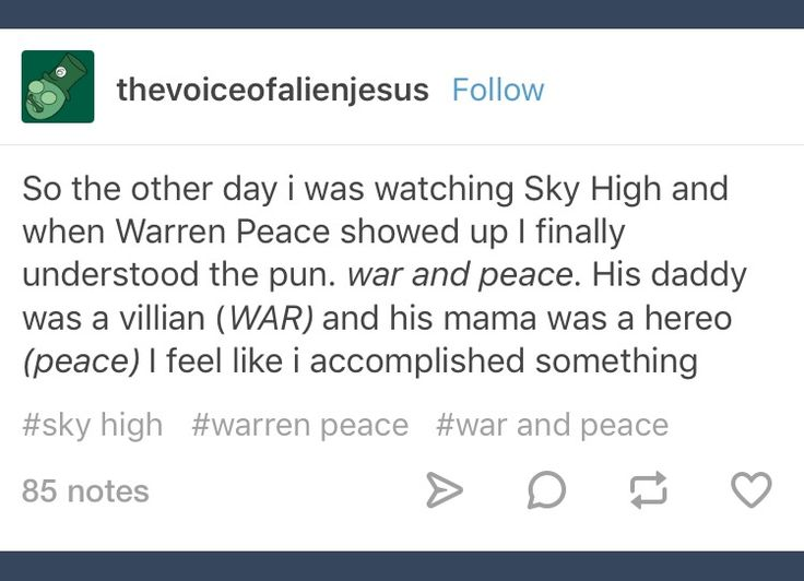 Tumblr; Sky High; Warren Peace