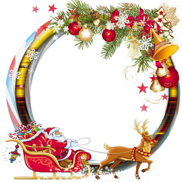 Round Transparent PNG Christmas Photo Frame with Santa Sleng