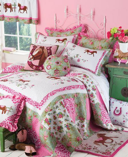 bedroom set for the horse crazy little girl that also loves pink