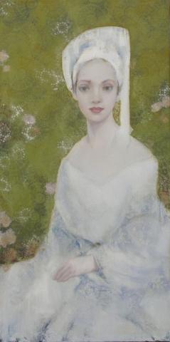 """Bruidsmeisje"", olieverf op doek,  140x70 cm, kunstenaar: Hans Bosman  Galerie Delfi Form"