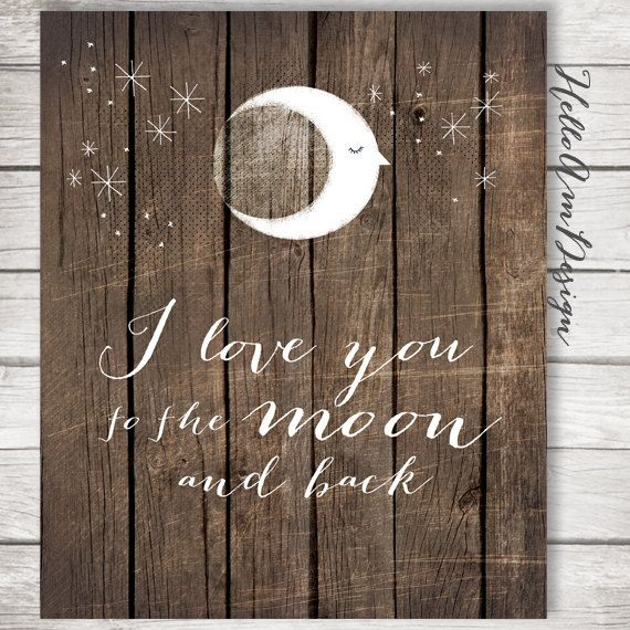 I Love You To The Moon And Back Brown Rustic Wood Art