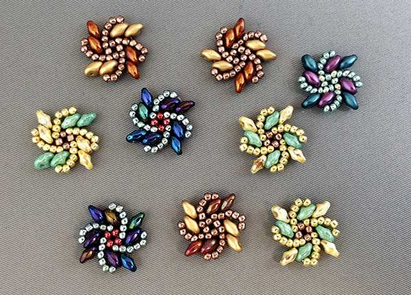 Earring Jacket designs, by Kassie Shaw. Right-angle weave variation