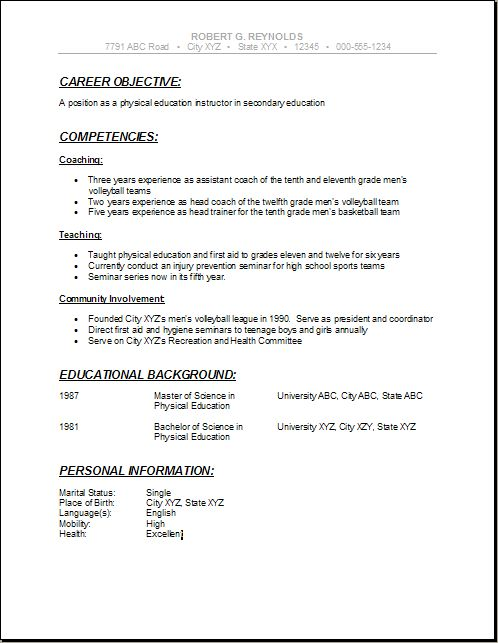 Education Curriculum Vitae Example 1 Making Strides Forward