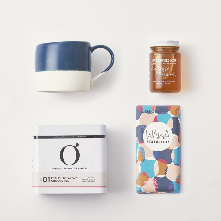 Tea Break Tube. A combination of all Australian products to enjoy a lovely morning tea time. Organic English Breakfast tea, artisan honey, handmade chocolate and a pretty handmade mug by Robert Gordon.