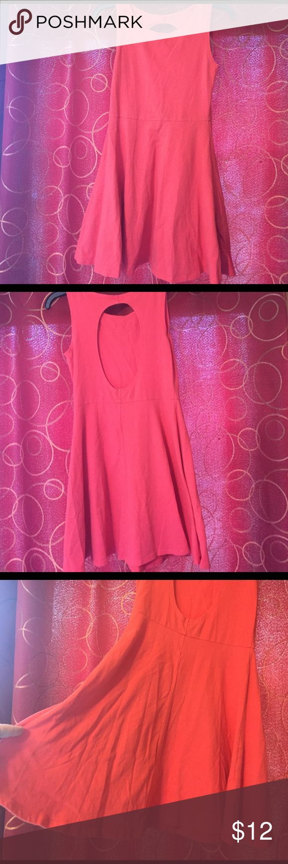 Women's skater dress with open back size medium Flowy at the bottom. Coral color. Super soft and pretty. Ocean Drive Dresses