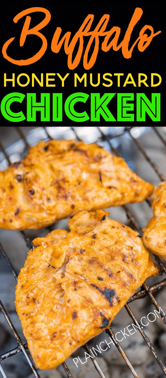 Buffalo Honey Mustard Chicken - only 3 ingredients! It sounds like a weird combination, but it is AMAZING! A real crowd pleaser. This will definitely be on our tailgating menu this Fall!
