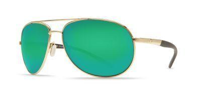Costa Del Mar Wingman Polarized Sunglasses - Costa 580 Glass Lens Gold/Green Mirror, One Size