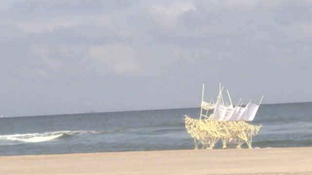 "Holland, near Amsterdam:  STRANDBEEST ""Animals"" made out of plastic pipe walk along the beach. Awesomely real!  The result of an artist with degrees in physics and math!  On my list to see if in Amsterdam some day..."