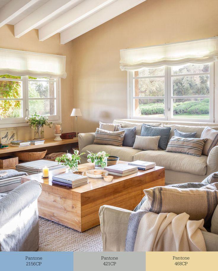 """w00437006. Sofá decorado en beige, azul y gris con dos sofás en """"L"""" y una mesa de centro de madera w00437006"""