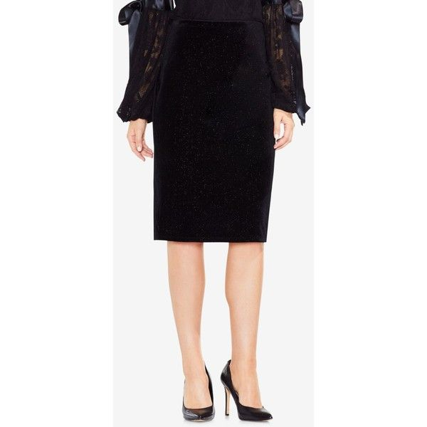 Vince Camuto Velvet Pencil Skirt ($69) ❤ liked on Polyvore featuring skirts, rich black, pencil skirts, sparkle skirts, holiday skirts, sparkly pencil skirt and cocktail skirt