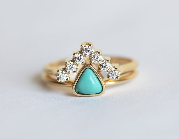Turquoise Engagement Ring Trillion Engagement Ring by capucinne