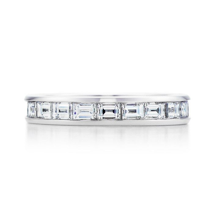 Wendy Manzo Jewellery. Baguette  cut diamonds  channel set  horizontally in an eternity band. I like this as a wedding ring!