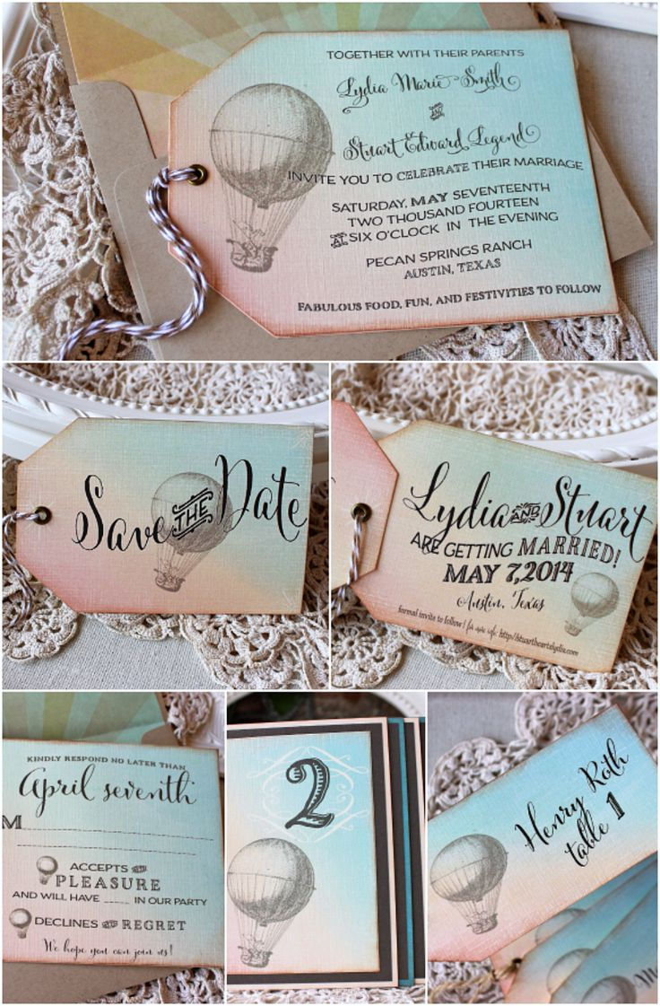 Vintage Hot Air Balloon Wedding Stationery Collection | Sunshine and Ravioli