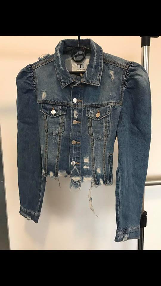 5c685fa2807 Zara NEW Denim Puff Sleeve Shoulder Jeans Jacket Size M / UK 12 / EU ...