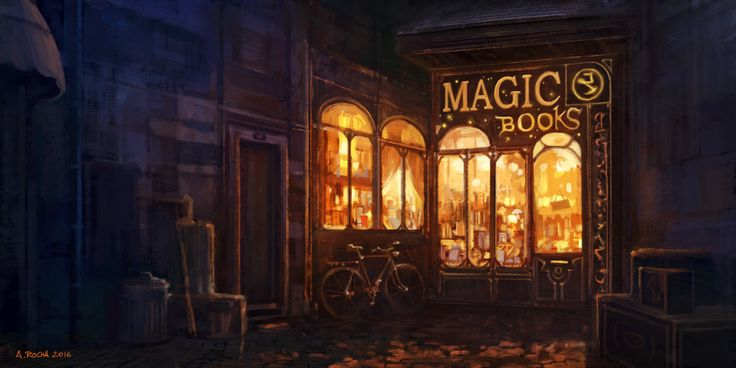 """Two weeks ago I asked the DA community to pick the theme for my next painting and the """"Small magic books library located in a small dark alley at night"""" won. I have always loved bookstores, especia..."""