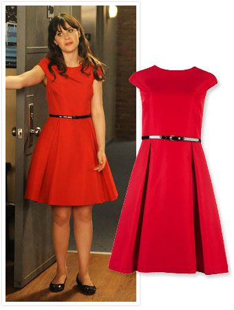 Found It via Possessionista! Zooey Deschanel's New Girl Red Dress : InStyle.com What's Right Now