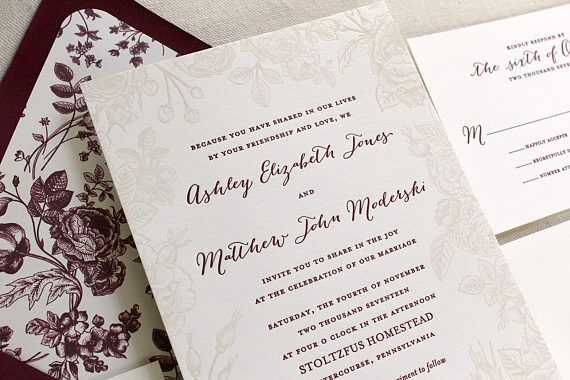 The Vintage Rose Suite - Letterpress Wedding Invitation Suite, Rose, Botanical, Floral, Fall, Winter, Red, Burgundy, Gold, Ivory, Modern