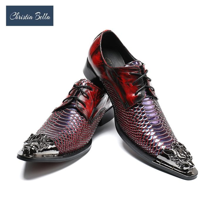 Homens se vestem sapatos Christia Bella moda italiana escalas de peixe moda dedo apontado casamento sapatos de Oxford com metal   – Sapatos masculinos, femininos e infantis