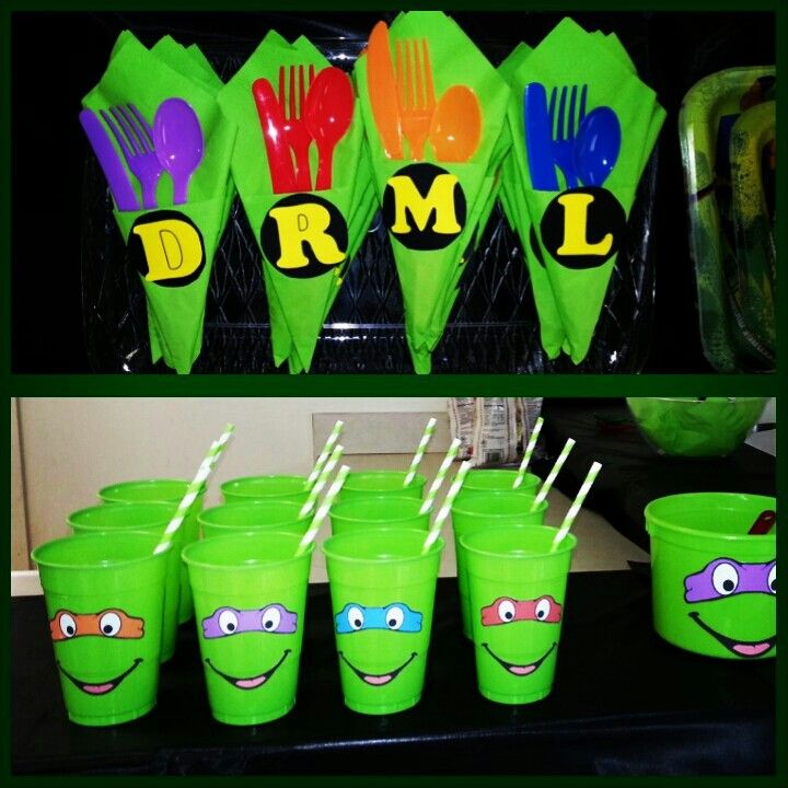 Ninja Turtle party Cups and Plasticware