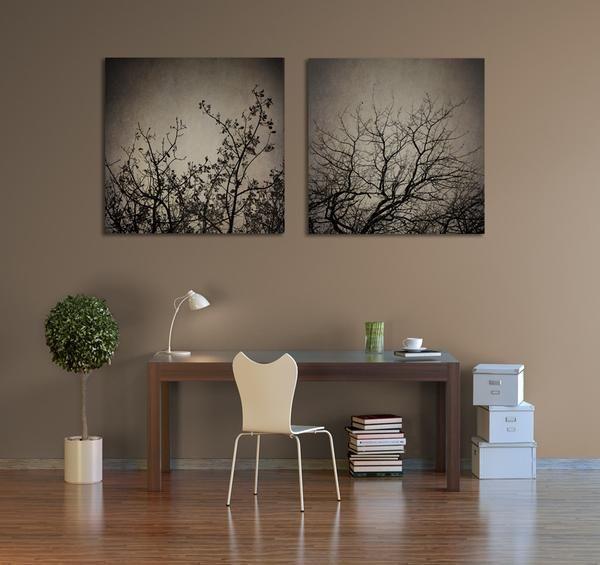 Large 'Reaching Trees' print set - 2x 80x80cm prints