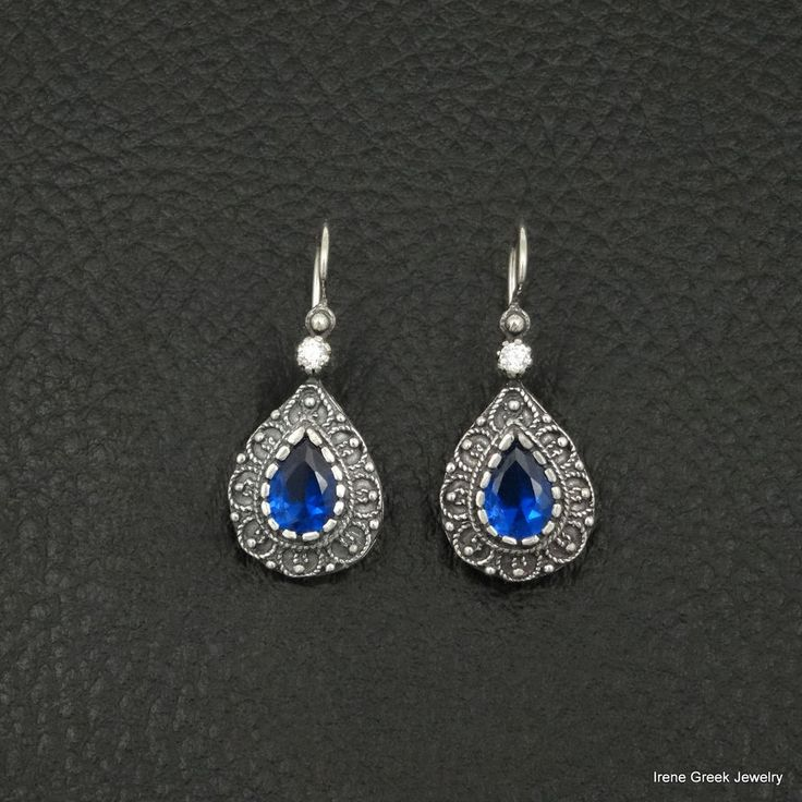 PEAR SAPPHIRE CZ ETRUSCAN 925 STERLING SILVER GREEK HANDMADE ART EARRINGS #IreneGreekJewelry #DropDangle