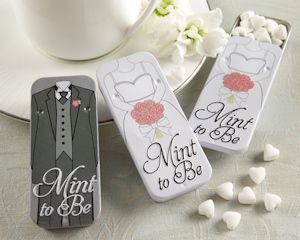 Mint to Be Bride and Groom Mint Tins Wedding Favors (Kate Aspen 19014WT) | Buy at Wedding Favors Unlimited (https://www.weddingfavorsunlimited.com/mint_to_be_bride_and_groom_mint_tins.html).