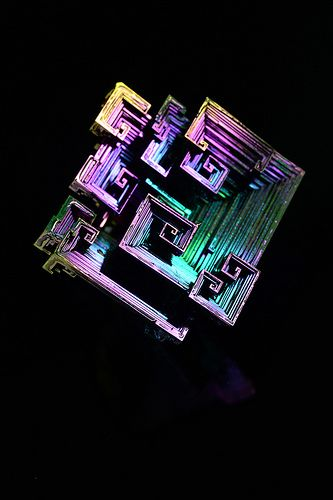 Native Element Bismuth (Man made crystal showing hopper growth pattern)