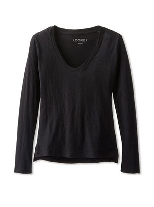 66% OFF CORE Women's V-Neck Long Sleeve Tee (Black)