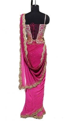 scalloped edge saree with corset top