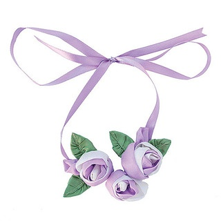Pretty in pink or lavender, or any of these dreamy summer colours is this season's darling the Rosebud Ribbon Necklace.  A romantic trio of the softest hand made 100% parachute silk rosebuds on a silken ribbon will be the most feminine adornment for your summer wardrobe.