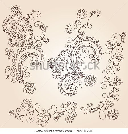 Hand-Drawn Abstract Henna Mehndi Abstract Flowers and Vines Paisley Doodle Vector Illustration Design Elements by blue67design, via Shutters...