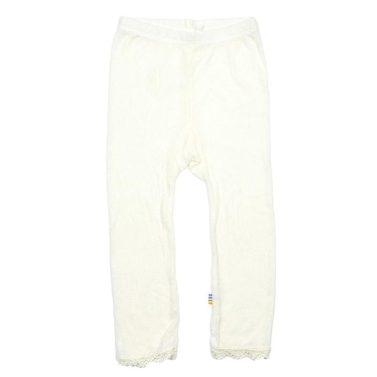 Råhvide leggings i uld/silke