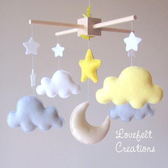 Bebé móvil nube móvil Luna nubes móviles por lovefeltmobiles